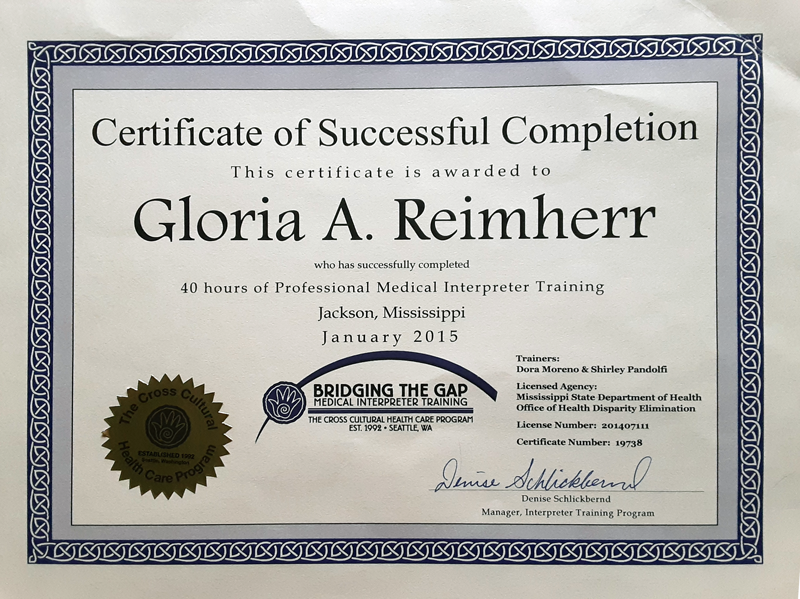 Professional Medical Interpreter Training Certificate 2015 for Gloria A. Reimherr
